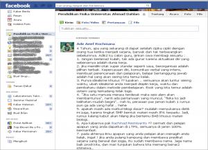 Screen Shot laman jejaring sosial Facebook